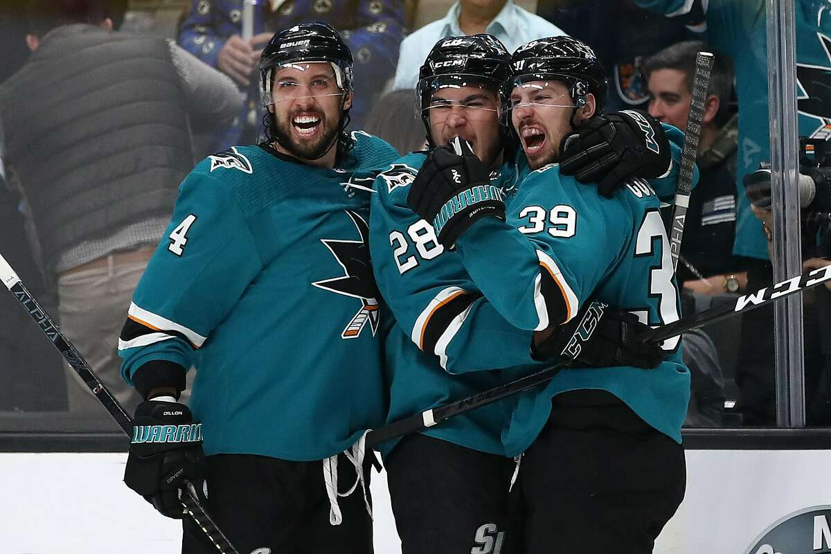 Logan Couture #39 of the San Jose Sharks celebrates his goal against the St. Louis Blues with Timo Meier #28 and Brenden Dillon #4 in Game Two of the Western Conference Final during the 2019 NHL Stanley Cup Playoffs at SAP Center on May 13, 2019 in San Jose, California.