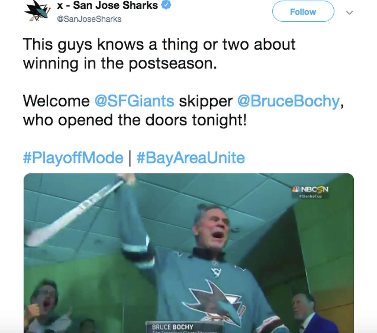 Bruce Bochy opened the doors for the Sharks prior to Game 2 of the Western Conference Finals.