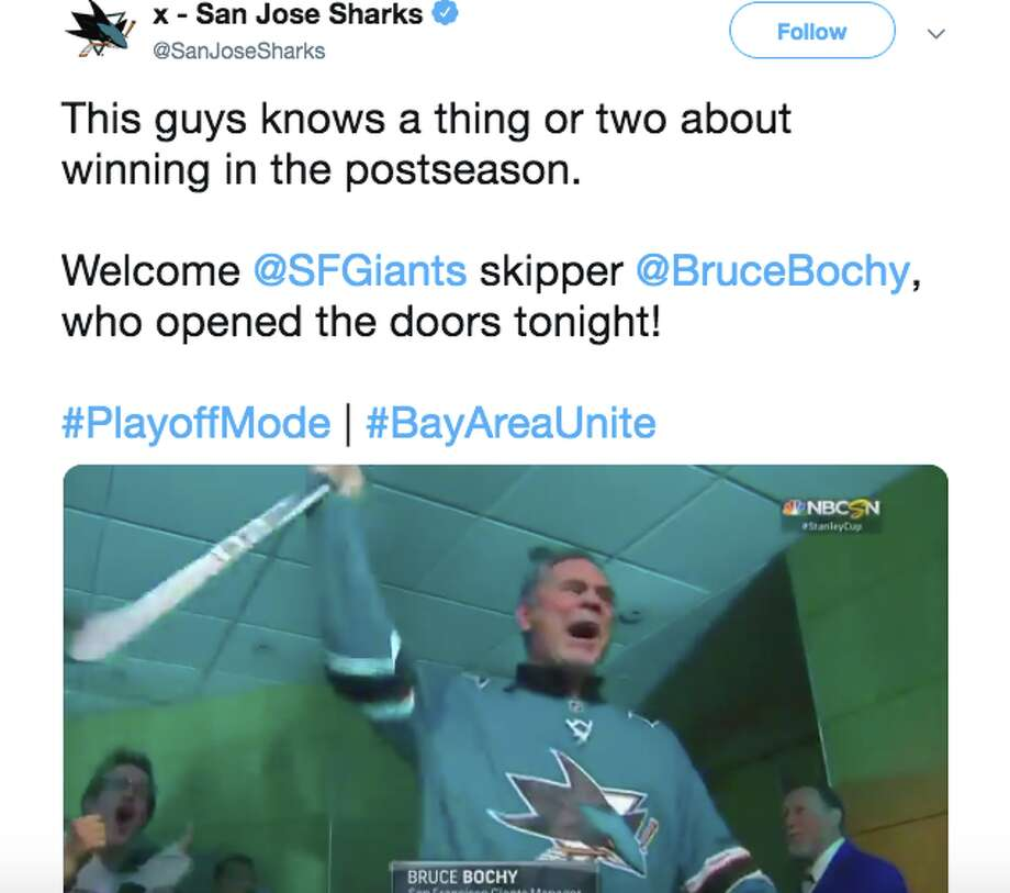 Bruce Bochy opened the doors for the Sharks prior to Game 2 of the Western Conference Finals. Photo: Twitter