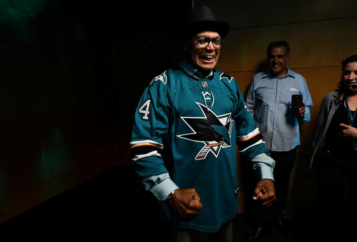 SAN JOSE, CA - MAY 11: Reggie Jackson opens the door before the San Jose Sharks game against the St. Louis Blues in Game One of the Western Conference Final during the 2019 NHL Stanley Cup Playoffs at SAP Center on May 11, 2019 in San Jose, California (Photo by Brandon Magnus/NHLI via Getty Images)