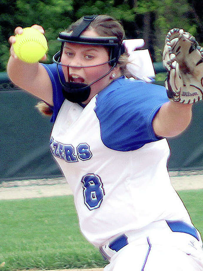 LCCC pitcher Syndey Henrichs hurled a complete-game two-hitter Monday night in a 6-1 victory over Heartland College of Bloomington in the NJCAA Region 24 Softball Tournament in Mattoon. Photo: Pete Hayes | The Telegraph