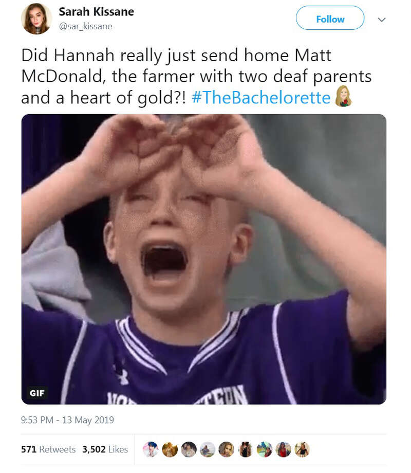 The Bachelorette with Hannah B., debuted on Monday, May 13, 2019, and as always, the Internet had plenty of reactions. Photo: Twitter.com/sar_kissane