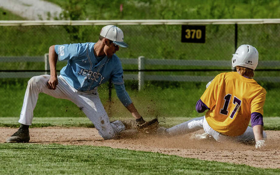 Jersey middle infielder Ethan Snider (9) puts a successful tag on Civic Memorial's Will Buhs (17), attempting to steal second base Monday during a Panthers 3-0 road victory. At the plate, Snider led the team with two hits and an RBI on a sacrifice fly. Photo: Nathan Woodside | The Telegraph
