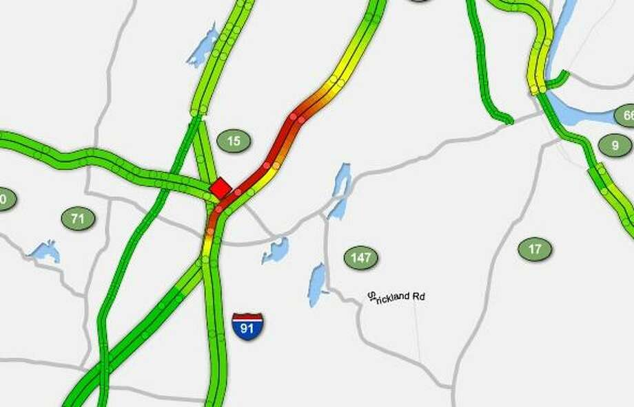 An overturned tractor-trailer truck has closed two lanes of I-95 south in Meriden on Tuesday, May 14, 2019. Photo: Sigalert Map