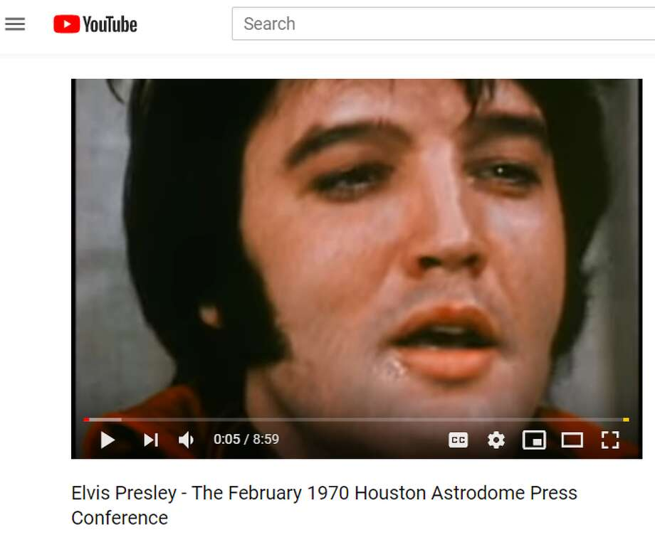 Several internet sleuths believe the video of Elvis Presley conducting an interview at the Astrodome in 1970 is actually a body double in the form of Jesse Garon Presley, Elvis's twin brother who died at birth. (Source: Youtube.com) Photo: Youtube.com