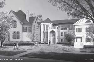 Architect's rendering of the renovations to New Milford Library.