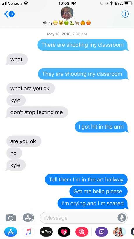 Text messages retrieved from Kyle McLeod's cellphone show the desperate messages he sent his sister, Danika, after he was shot in his art class. Photo: Courtesy Danika McLeod