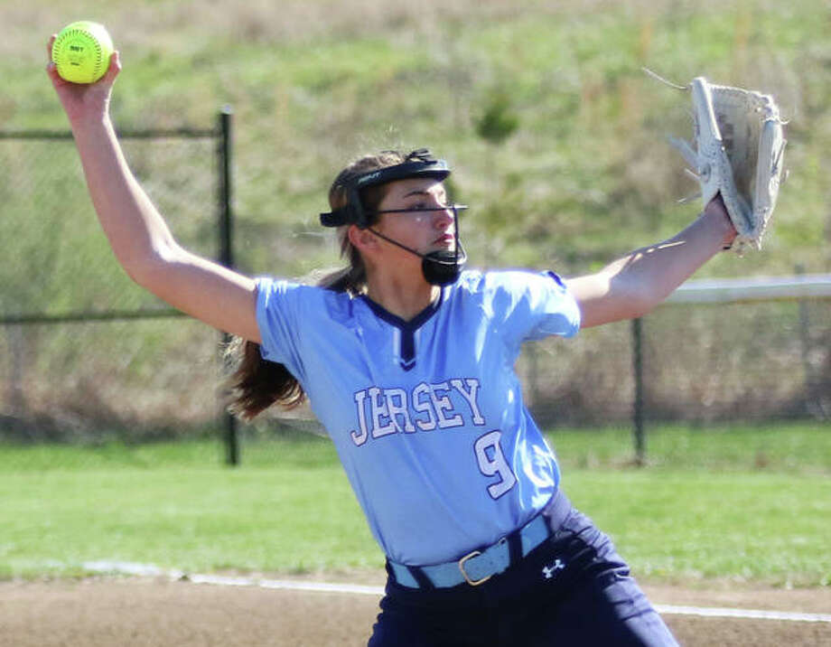 Jersey pitcher Claire Anderson shut out CM over the final four innings of a five-inning MVC victory in Jerseyville. She is shown pitching earlier this season. Photo: Greg Shashack / The Telegraph