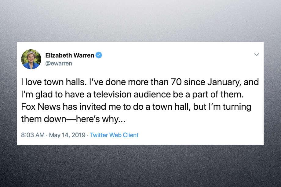 Presidential candidate Sen. Elizabeth Warren declined an invitation to do a Fox News town hall in a Twitter thread Tuesday, May 14, 2019. Photo: Sen. Elizabeth Warren