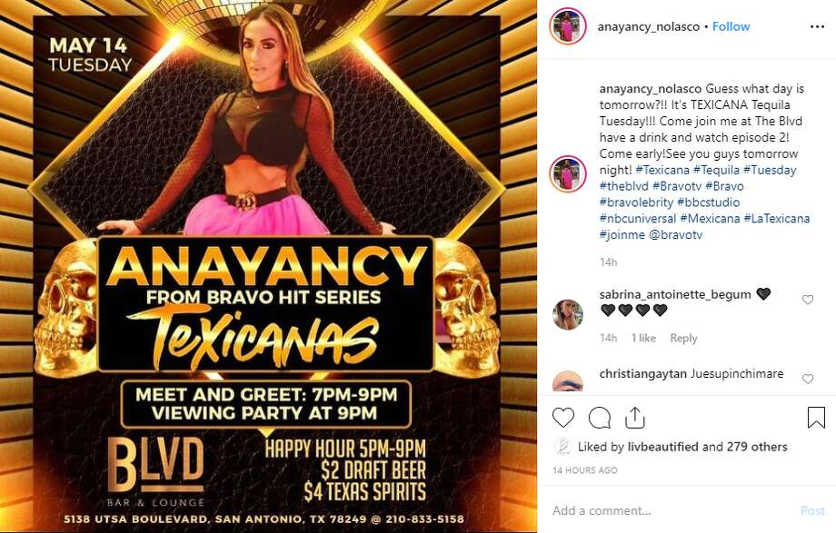"anayancy_nolasco: ""Guess what day is tomorrow?!! It's TEXICANA Tequila Tuesday!!! Come join me at The Blvd have a drink and watch episode 2! Come early!See you guys tomorrow night!"" Photo: Instagram Screengrab"