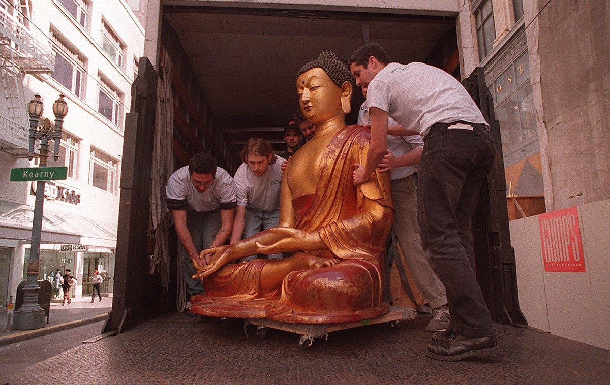 The Gump's Buddha, restored, was installed at its Post Street store in 1995