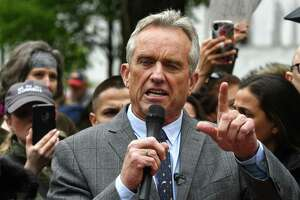 Robert F. Kennedy Jr. speaks during an anti-vaccination rally in West Capitol Park on Tuesday, May 14, 2019, in Albany, N.Y. (Will Waldron/Times Union)