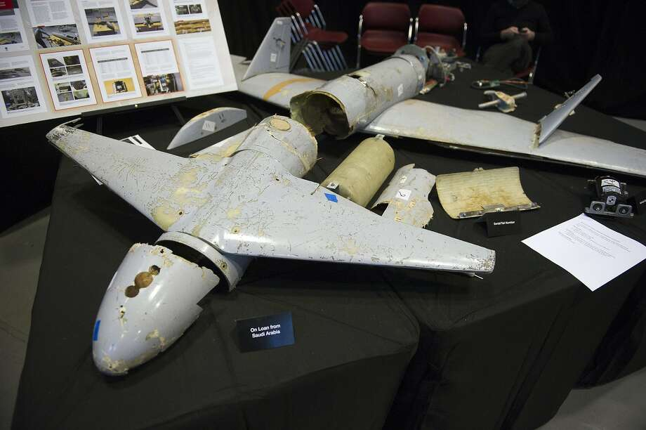 The remains of this Iranian Qasef-1 drone was fired by Yemen's rebels in 2017 into Saudi Arabia. Photo: Cliff Owen / Associated Press 2017