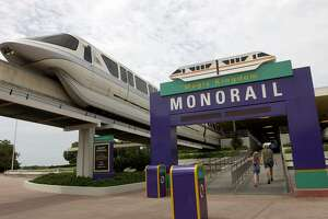 One of the Walt Disney World monorails pulls away from the main transportation station in Lake Buena Vista, Fla.