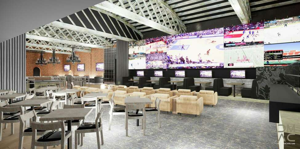 Rendering of a new sports wagering lounge under construction at Rivers Casino & Resort. (Created by DMAC Architecture)