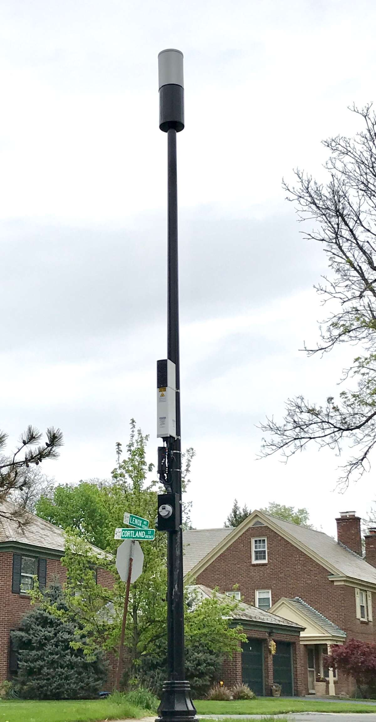 A cell tower at the corner of Lenox Avenue and Cortland Street in Albany's Buckingham Lake neighborhood has drawn concern and activism from neighbors who want a moratorium on the towers (Paul Grondahl / Times