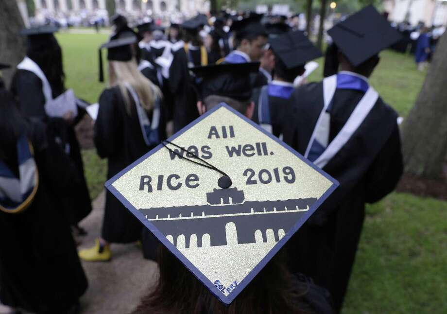 Jennifer Kroeger's mortar board as she waits with other graduates for commencement ceremonies to begin on the quad at Rice University Saturday, May. 11, 2019 in Houston, TX. Photo: Michael Wyke, Houston Chronicle / Contributor / © 2019 Houston Chronicle