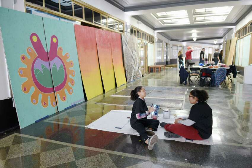 Teens work on creating murals that will go into local neighborhoods on Saturday, April 6, 2019 at Albany Center Gallery in Albany, NY. (Phoebe Sheehan/Times Union)
