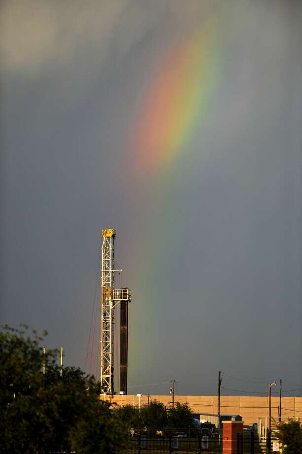 A rainbow appears to end near a drilling rig located near Loop 250 and Thomason Drive, May 3, 2019 as viewed from Security Bank Ballpark. Sales of the new grade, known as West Texas Light, began in September, as explorers sought to separate out increasingly lighter and less sulfurous crude bubbling up from wells in West Texas and New Mexico, so it wouldn't lessen the quality of U.S. benchmark West Texas Intermediate. Photo: James Durbin/Reporter-Telegram