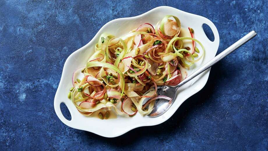 Shaved Rhubarb and Radish Salad with Apple Cider Vinaigrette. Photo: Photo By Stacy Zarin Goldberg For The Washington Post; Food Styling By Lisa Cherkasky For The Washington Post. / For The Washington Post
