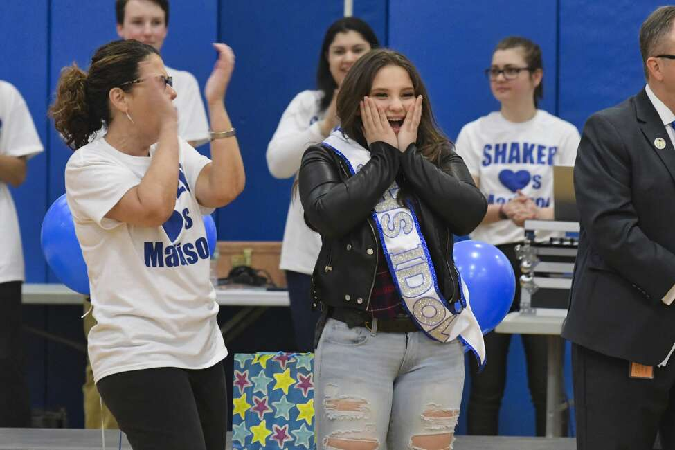 American Idol finalist Madison VanDenburg is overwhelmed by the cheers for her at Shaker High School during a pep rally to show support for her on Tuesday, May 14, 2019, in Latham, N.Y. (Paul Buckowski/Times Union) American Idol finalist Madison VanDenburg, performs at Shaker High School during a pep rally to show support for her on Tuesday, May 14, 2019, in Latham, N.Y. (Paul Buckowski/Times Union)