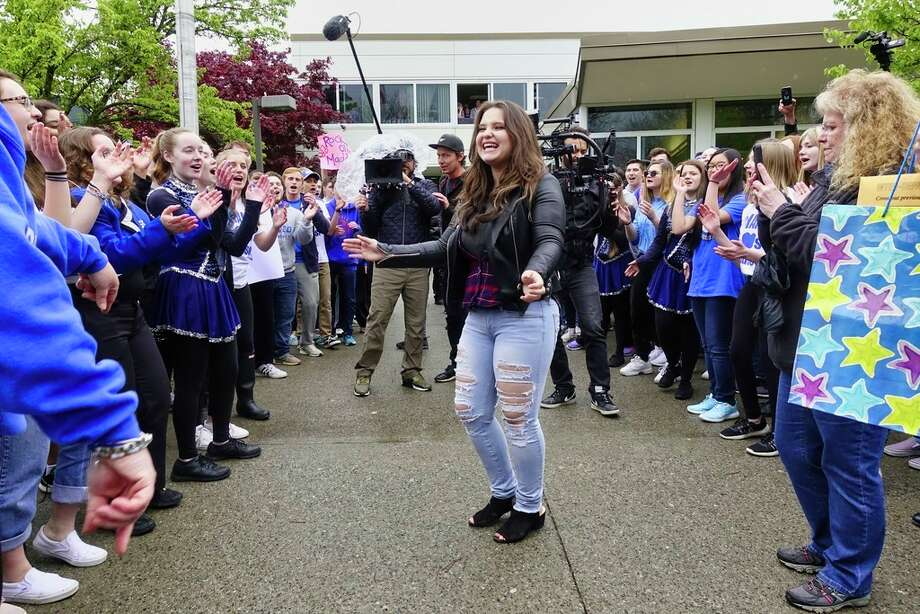 American Idol finalist Madison VanDenburg is serenaded to by the Shaker High School chorus as VanDenburg returned to her school for a pep rally on Tuesday, May 14, 2019, in Latham, N.Y.    (Paul Buckowski/Times Union) Photo: Paul Buckowski, Albany Times Union / (Paul Buckowski/Times Union)