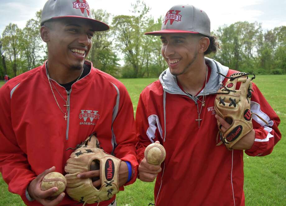 Andrew Marrero and Angel Gilandez have formed a friendship that has helped translates to wins on the baseball field for Wilbur Cross. Photo: Pete Paguaga / Hearst Connecticut Media