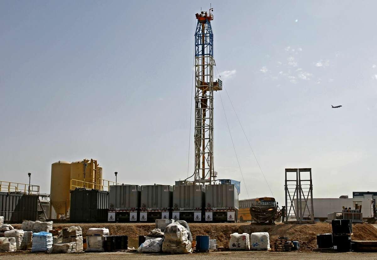 A Latshaw Drilling Rig operates on a Diamondback oil and gas location, April 17, 2019 in Midland County, Texas. James Durbin / Reporter-Telegram