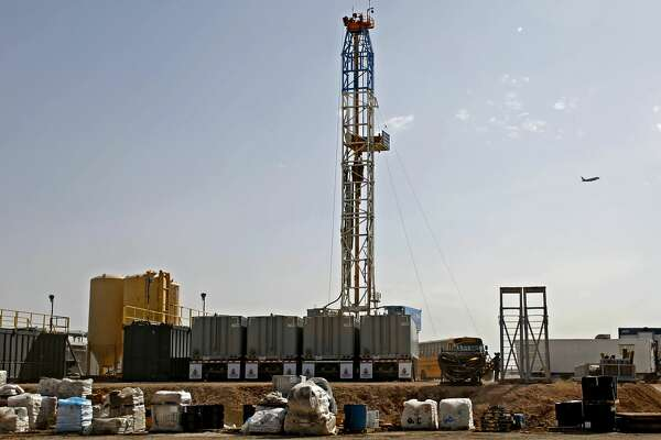 A Latshaw Drilling Rig operates on a Diamondback oil and gas location, April 17, 2019 in Midland County, Texas. James Durbin / Reporter-Telegram
