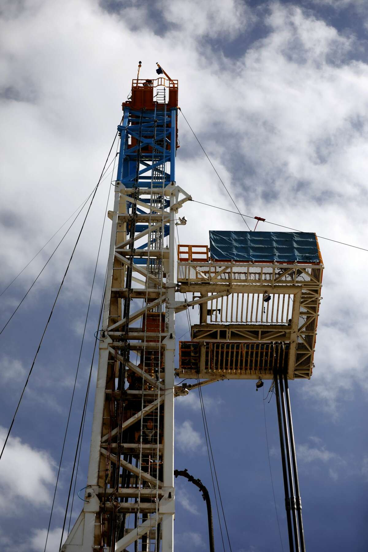 Latshaw Drilling Rig on a Diamondback oil and gas operation, photographed April 17, 2019 in Midland County, Texas. James Durbin / Reporter-Telegram