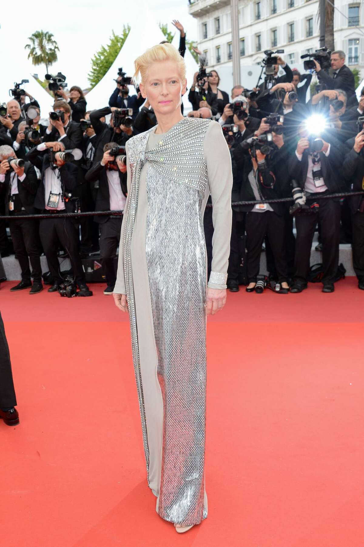 """CANNES, FRANCE - MAY 14: Tilda Swinton attends the opening ceremony and screening of """"The Dead Don't Die"""" during the 72nd annual Cannes Film Festival on May 14, 2019 in Cannes, France. (Photo by Stephane Cardinale - Corbis/Corbis via Getty Images)"""