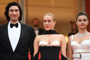 """(From L) US actor Adam Driver, US film actress Chloe Sevigny and US singer and actress Selena Gomez pose as they arrive for the screening of the film """"The Dead Don't Die"""" during the 72nd edition of the Cannes Film Festival in Cannes, southern France, on May 14, 2019. (Photo by LOIC VENANCE / AFP)        (Photo credit should read LOIC VENANCE/AFP/Getty Images)"""