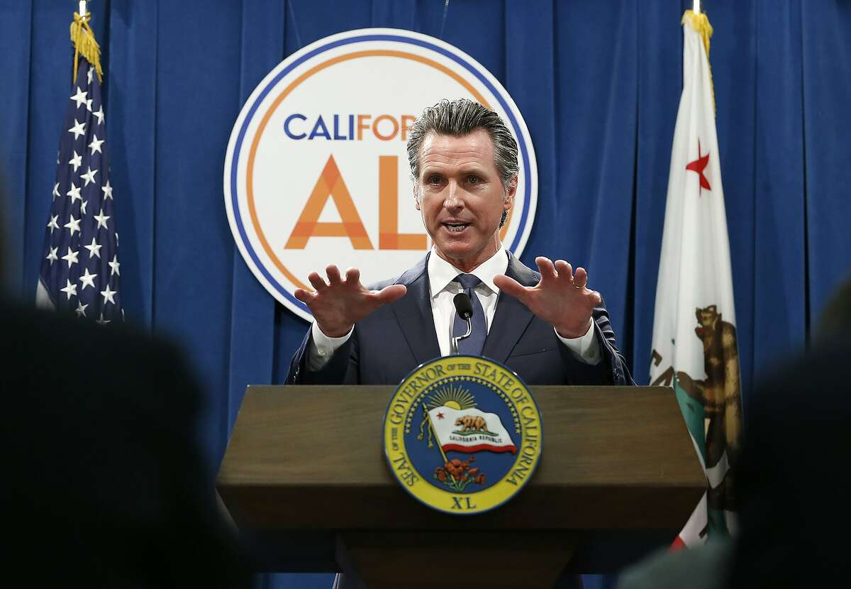 FILE - In this May 9, 2019, file photo, Gov. Gavin Newsom discusses his revised 2019-2020 state budget during a news conference in Sacramento, Calif. Newsom has handed off his $213 billion budget to lawmakers for final weeks of negotiations. Lawmakers have until June 15 to pass a budget that Newsom must sign by June 30. (AP Photo/Rich Pedroncelli, File)