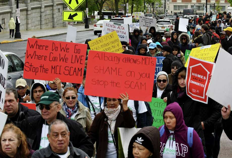Rent control advocates march up State Street during a rally on Tuesday, May 14, 2019, in Albany, N.Y. Demonstrators are asking lawmakers to strengthen renter protections. (Will Waldron/Times Union) Photo: Will Waldron, Albany Times Union