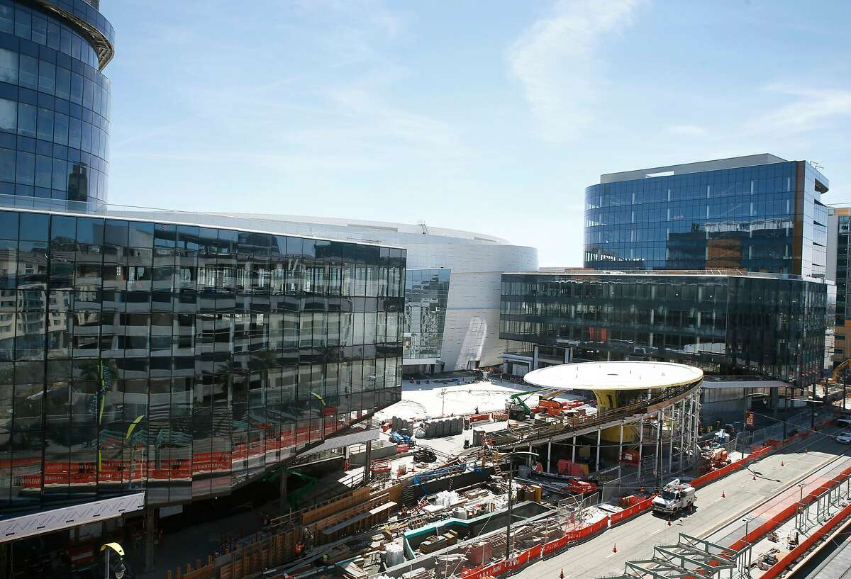 Office buildings in front of the Chase Center arena on Third Street are under construction in San Francisco, Calif. on Thursday, April 18, 2019.