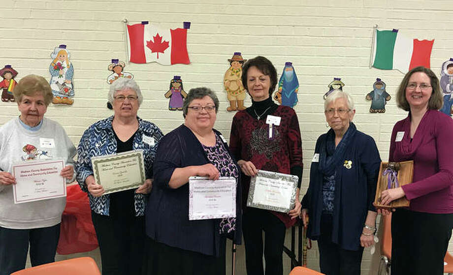 Madison County Association for Home and Community Education (MCAHCE) recognized members of the Edwardsville Get Rich on Wisdom (G.R.O.W) unit at the 83rd annual Achievement Meeting recently held at the Edwardsville Farm Bureau. From left to right are Winnie Kyro, a 10-year member; Vera Goode, a 30-year member; Barbara Crowder, five-year member; Anita Reising, 25-year member; Joyce Cornwell, second vice president of MCAHCE; and Tammy Pitt, first vice president of GROW, holding the Traveling Gavel GROW received for adding the newest members. Photo: For The Intelligencer