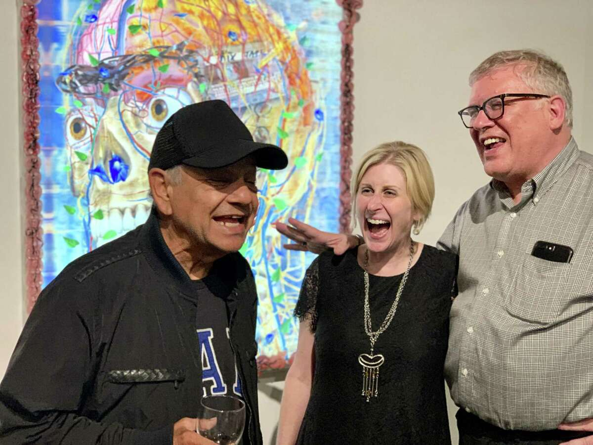 Cheech Marin, left, with art dealer Nicole Longnecker and Bryan Scrivner at Nicole Longnecker Gallery.