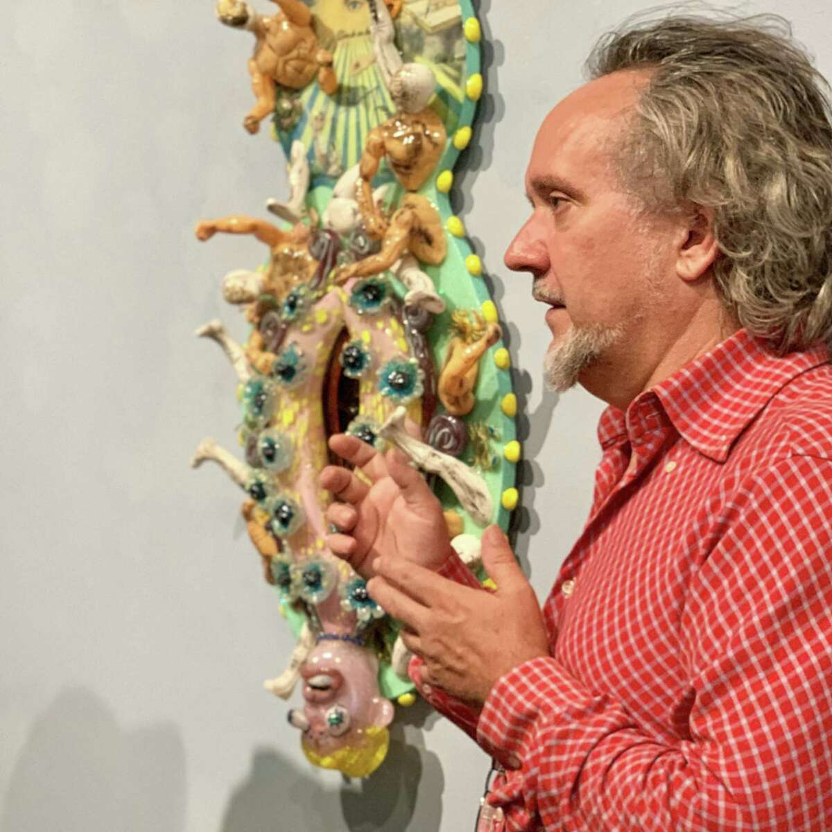 Artist Einar de la Torre gives a tour of his show at Nicole Longnecker Gallery during a visit by Cheech Marin on May 7, 2019.