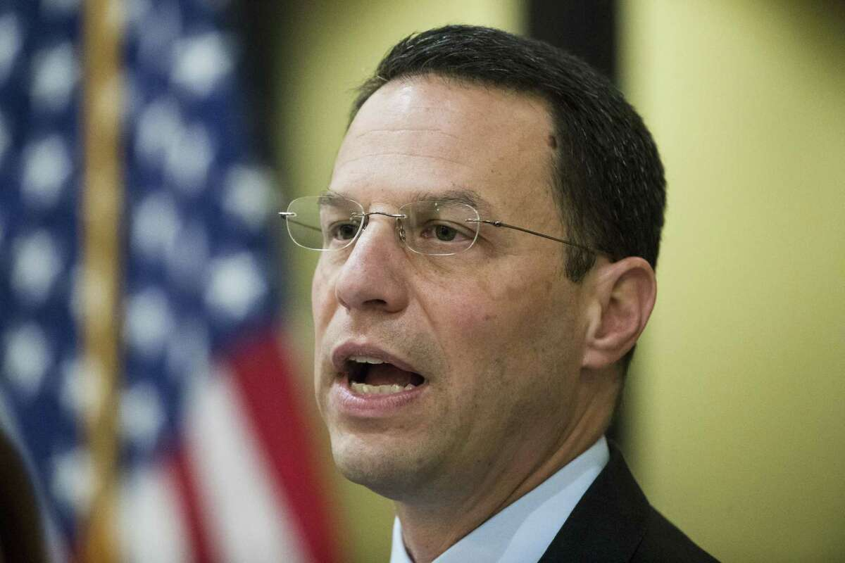 Pennsylvania Attorney General Josh Shapiro speaks during a news conference in Philadelphia, Tuesday, May 14, 2019. Shapiro filed a lawsuit Tuesday accusing the company that makes OxyContin of fueling the opioid epidemic, making it at least the 39th state to make such a claim against Purdue Pharma. (AP Photo/Matt Rourke)