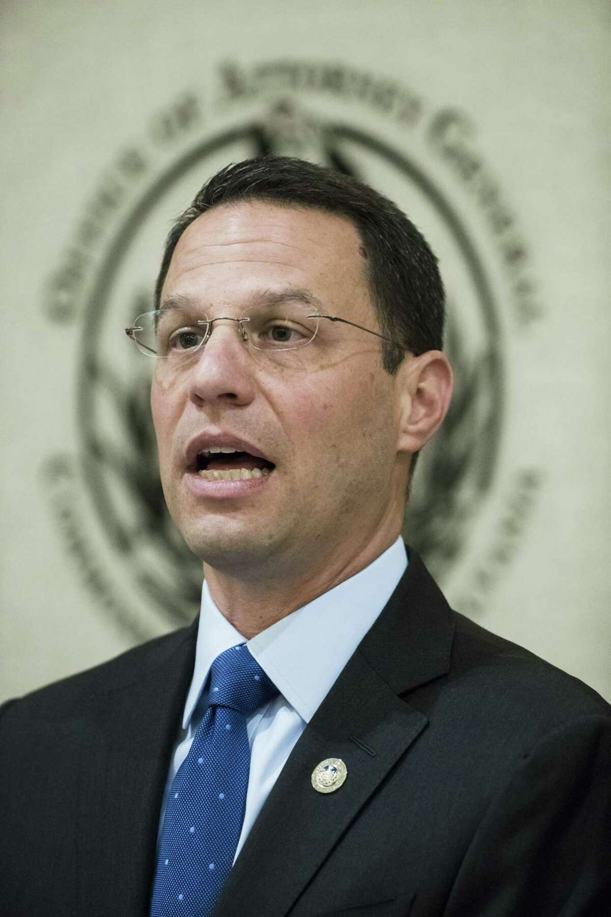 Pennsylvania Attorney General Josh Shapiro speaks during a news conference in Philadelphia, Tuesday, May 14, 2019. Shapiro filed a lawsuit Tuesday against OxyContin maker Purdue Pharma, accusing the company of fueling the company of fueling the state's opioid crisis with deceptive marketing practices.