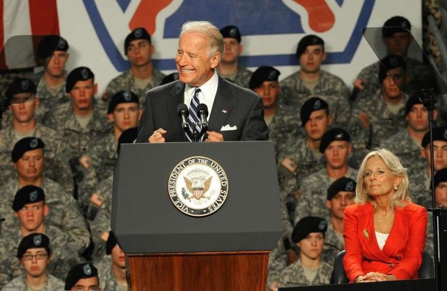 Vice President Joe Biden addresses the troops at Fort Drum on July 28, 2010. The Vice President and his wife, Jill Biden, welcomed home the 2nd Brigade Combat Team, 10th Mountain Division, from Iraq. (Lori Van Buren / Times Union) Photo: LORI VAN BUREN