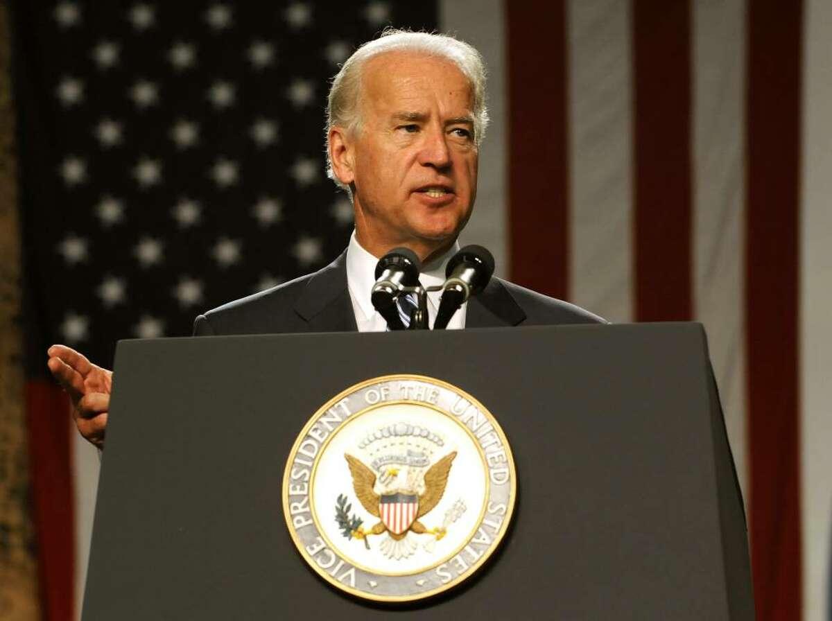 Vice President Joe Biden addresses the troops at Fort Drum. (Lori Van Buren / Times Union)