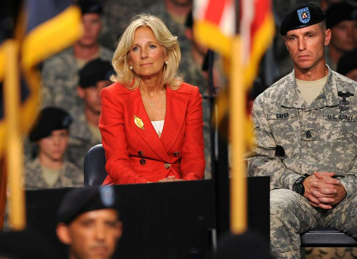 Jill Biden watches the uncasing of the colors before her husband, Vice President Joe Biden, addresses the troops at Fort Drum on July 28, 2010. (Lori Van Buren / Times Union)