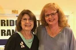 The Bridgewater Grange recently presented its Community Service Award to Carol Wilbur. Above, Nancy Mascio of the Grange, left, congratulates Wilbur at the late April meeting.