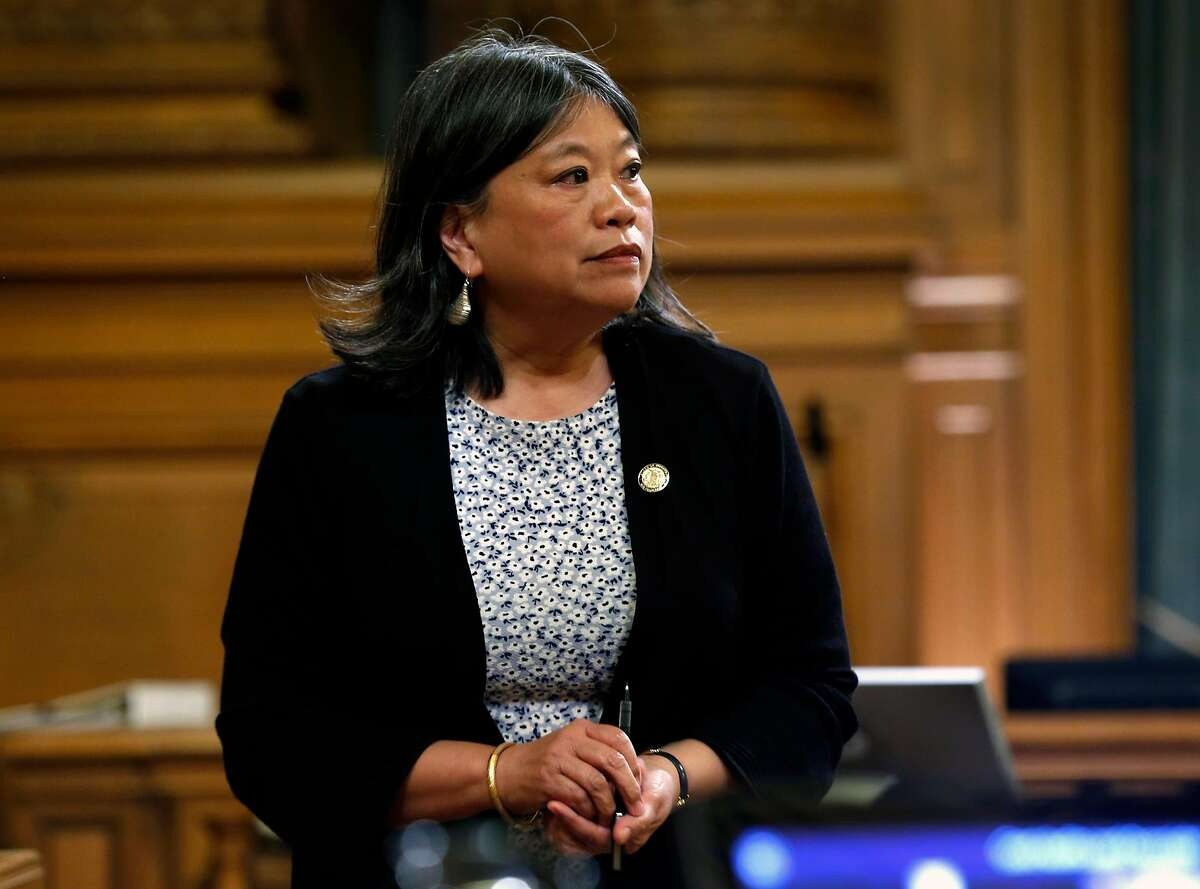 Supervisor Sandra Lee Fewer joins the Government Audit and Oversight committee to ask police officials questions about information leaked to the media on the investigation in the death of public defender Jeff Adachi at City Hall in San Francisco, Calif. on Thursday, April 18, 2019.