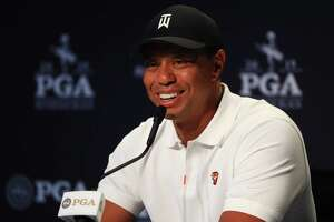 BETHPAGE, NEW YORK - MAY 14: Tiger Woods speaks to the media during a press conference prior to the 2019 PGA Championship at the Bethpage Black course on May 14, 2019 in Bethpage, New York.
