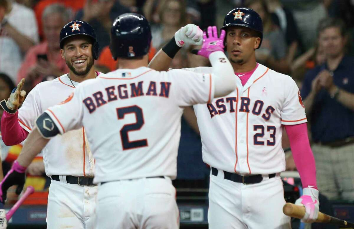 The Astros' George Springer, from left, Alex Bregman and Michael Brantley will start in this year's MLB All-Star Game in Cleveland. Click through the gallery to see Astros all-star starters through the years.