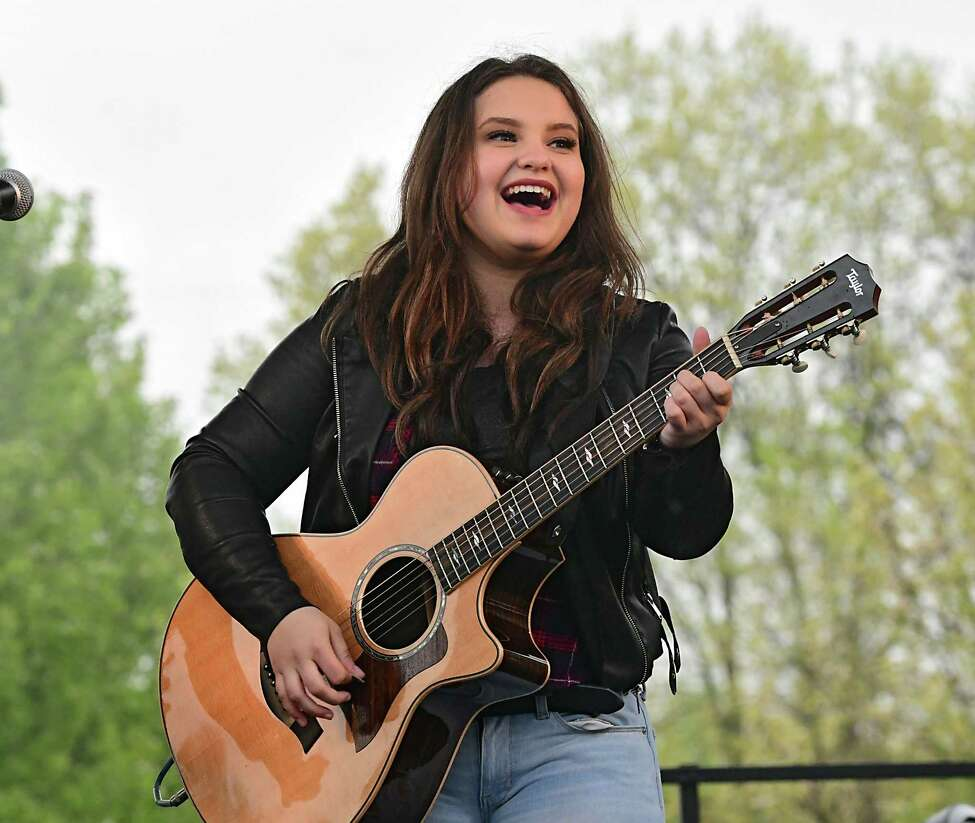 American Idol finalist Madison VanDenburg gives hometown fans in her community a live performance at The Crossings of Colonie on Tuesday, May 14, 2019 in Colonie, N.Y. The show had a production crew filming the event for the next show. (Lori Van Buren/Times Union)