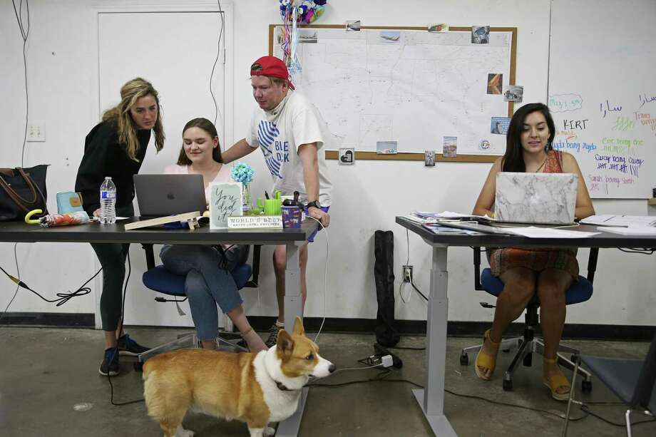 CEO Eric Bell wants Blue Duck to get one of three scooter concessions expected to be awarded in San Antonio. Above, he consults with (from left) Chief Marketing Officer Elizabeth Houston and employees Sarah Washington and Magda Gonzalez-Jimenez. With them is Bell's Corgi, Rooney. Photo: Jerry Lara / © 2019 San Antonio Express-News