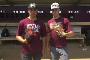 Magnolia West senior pitchers Robert Revels (left) and Connor Phillips (right) have been a huge factor in the Mustangs trip to the third round of the playoffs in Region III-5A.